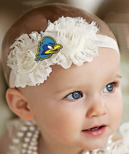 Delaware Blue Hens Baby/ Toddler Shabby Flower Hair Bow Headband
