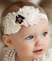 East Carolina Pirates Baby/ Toddler Shabby Flower Hair Bow Headband