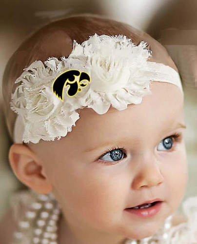 Iowa Hawkeyes Baby/ Toddler Shabby Flower Hair Bow Headband