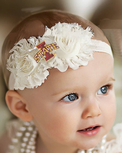 Iowa State Cyclones Baby/ Toddler Shabby Flower Hair Bow Headband