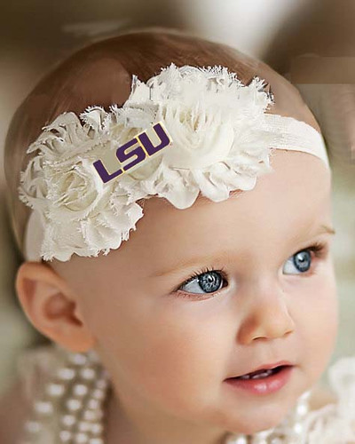 LSU Tigers Baby/ Toddler Shabby Flower Hair Bow Headband