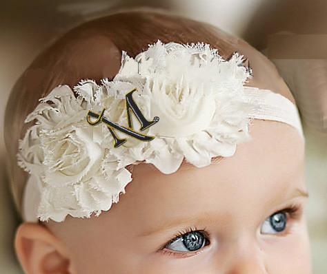 Millersville Marauders Baby/ Toddler Shabby Flower Hair Bow Headband