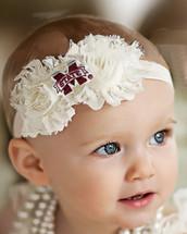 Mississippi State Bulldogs Baby/ Toddler Shabby Flower Hair Bow Headband