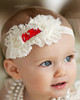 Mississippi Ole Miss Rebels Baby/ Toddler Shabby Flower Hair Bow Headband