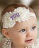 Texas Christian TCU Horned Frogs Baby/ Toddler Shabby Flower Hair Bow Headband