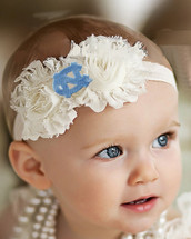 North Carolina Tar Heels Baby/ Toddler Shabby Flower Hair Bow Headband
