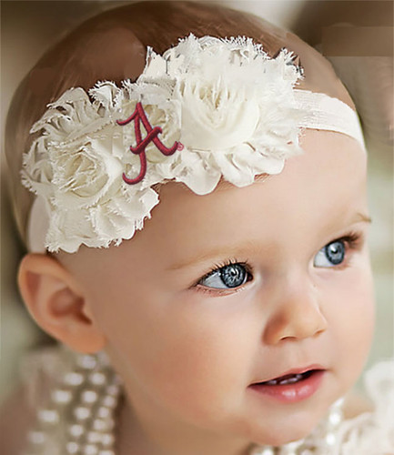 Alabama Crimson Tide Baby/ Toddler Shabby Flower Hair Bow Headband
