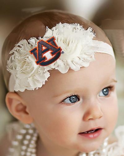 Auburn Tigers Baby/ Toddler Shabby Flower Hair Bow Headband