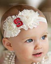NC State Wolfpack Baby/ Toddler Shabby Flower Hair Bow Headband