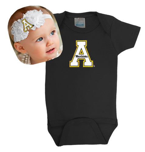 Appalachian State Mountaineers Baby Bodysuit and Shabby Bow Headband