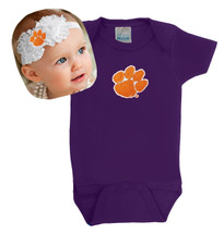 Clemson Tigers Baby Bodysuit and Shabby Bow Headband