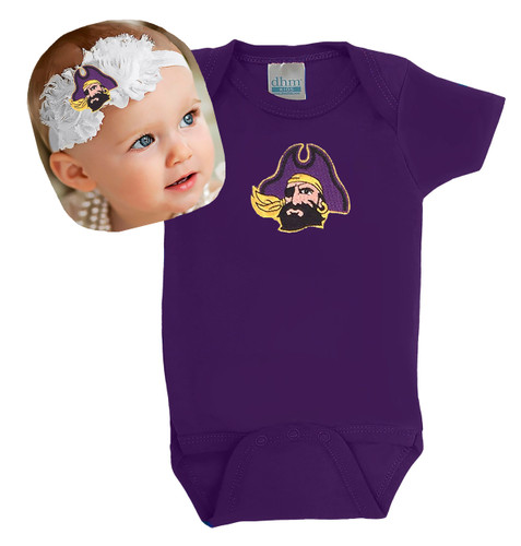 East Carolina Pirates Baby Onesie and Shabby Flower Headband Set