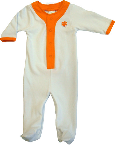 Clemson Tigers Baby Long Sleeve Baseball Style Playsuit