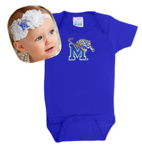 Memphis Tigers Baby Bodysuit and Shabby Flower Headband