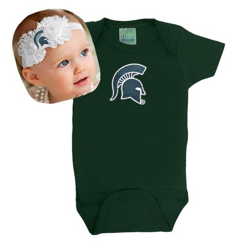 Michigan State Spartans Baby Onesie and Shabby Flower Headband