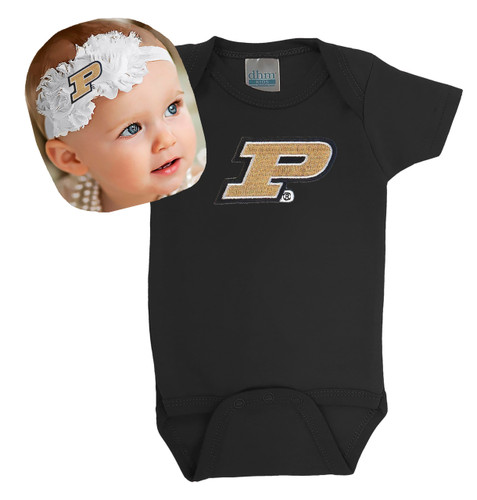 Purdue Boilermakers Baby Bodysuit and Shabby Bow Headband