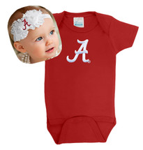 Alabama Crimson Tide Baby Onesie and Shabby Bow Headband