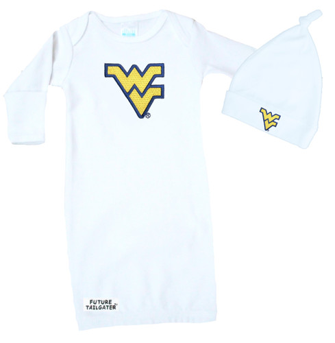 West Virginia Mountaineers Baby Layette Gown and Knotted Cap Gift Set
