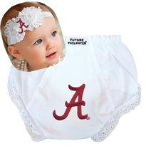 Alabama Crimson Tide Baby Eyelet Diaper Cover and Shabby Bow Headband