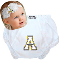 Appalachian State Mountaineers Baby Eyelet Diaper Cover and Shabby Bow Headband
