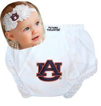 Auburn Tigers Baby Eyelet Diaper Cover and Shabby Bow Headband Set