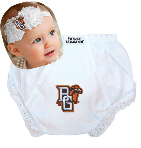 Bowling Green St. Falcons Baby Eyelet Diaper Cover and Shabby Flower Headband
