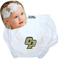 Cal Poly Mustangs Baby Eyelet Diaper Cover and Shabby Flower Headband
