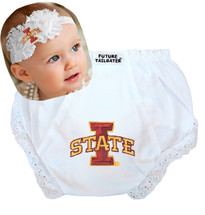 Iowa State Cyclones Baby Eyelet Diaper Cover and Shabby Bow Headband
