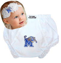 Memphis Tigers Baby Eyelet Diaper Cover and Shabby Flower Headband