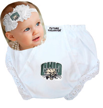 Ohio Bobcats Baby Eyelet Diaper Cover and Shabby Flower Headband