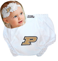 Purdue Boilermakers Baby Eyelet Diaper Cover and Shabby Bow Headband