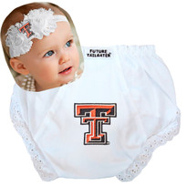 Texas Tech Red Raiders Baby Eyelet Diaper Cover and Shabby Flower Headband