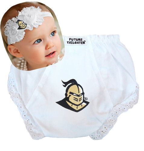 UCF Knights Baby Eyelet Diaper Cover and Shabby Flower Headband Set