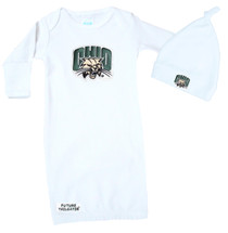Ohio Bobcats Baby Layette Gown And Knotted Cap Set