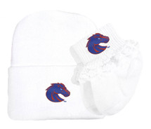 Boise State Broncos Newborn Baby Knit Cap and Socks with Lace Set