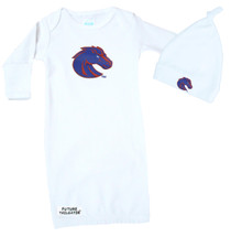 Boise State Broncos Baby Layette Gown and Knotted Cap Set
