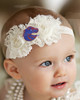 Boise State Broncos Baby/ Toddler Shabby Flower Hair Bow Headband