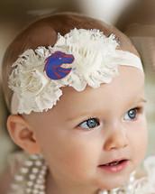 Boise State Broncos Baby/ Toddler Shabby Flower Hair Bow Headband