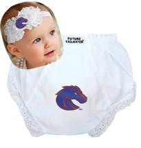 Boise State Broncos Baby Eyelet Diaper Cover and Shabby Flower Headband