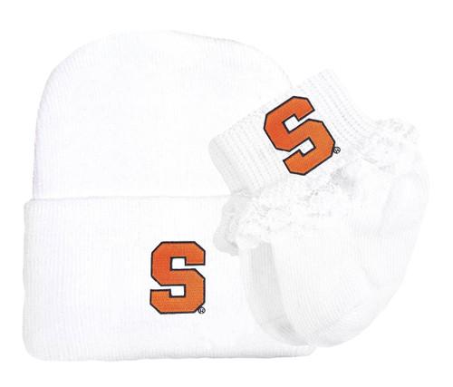 Syracuse Orange Newborn Baby Knit Cap and Socks with Lace Set