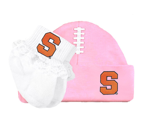Syracuse Orange Baby Football Cap and Socks with Lace Set