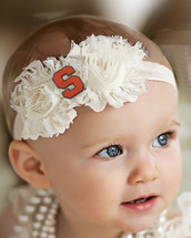 Syracuse Orange Baby/ Toddler Shabby Flower Hair Bow Headband