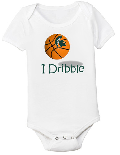 """Michigan State Spartans Basketball """"I Dribble"""" Baby Onesie"""