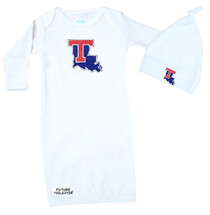 Louisiana Tech Baby Layette Gown and Knotted Cap Set