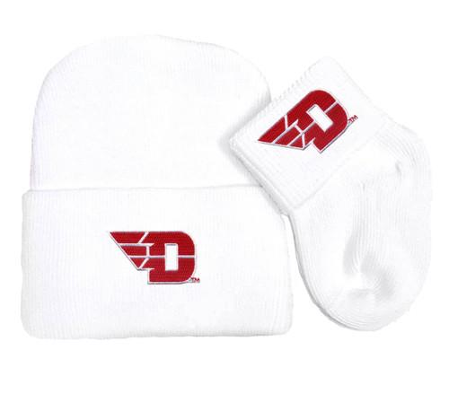 Dayton Flyers Newborn Baby Knit Cap and Socks Set