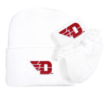 Dayton Flyers Newborn Knit Cap and Socks with Lace Baby Set