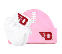 Dayton Flyers Football Cap and Socks with Lace Baby Set