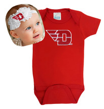 Dayton Flyers Baby Bodysuit and Shabby Bow Headband