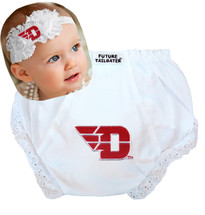 Dayton Flyers Baby Eyelet Diaper Cover and Shabby Bow Headband
