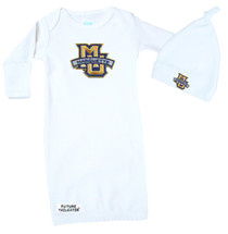 Marquette Golden Eagles Baby Layette Gown and Knotted Cap Set